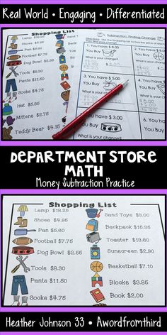 Department Store Math: Real World Money Subtraction Practice that is so easy to Differentiate! Life Skills Class, Life Skills Activities, Teaching Tips, Teaching Math, Math Subtraction, Career Exploration, Primary Maths, School Videos, Ways Of Learning