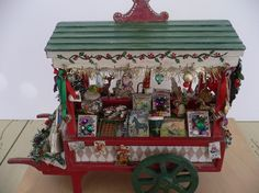RESERVED Marlyn One Inch Scale Dollhouse Miniature Old Fashioned Christmas Cart