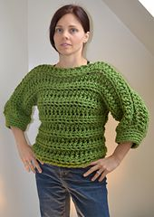 I wanted an openwork sweater that would work up quickly, so I played around with some thick yarn and a large hook and came up with this pullover - I love it! It's warm and cozy and because it was worked top-down I was able to adjust it for a petite frame.