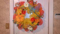 Spring/Summer Deco mesh wreath.