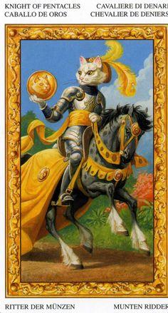 Le cavalier d'écus - Tarot chats blancs par Severino Baraldi