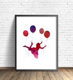 Little Girl Balloons Painting Umbrella Art by TheBohoWordsmith