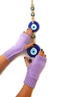 FINGERLESS Lilac Lavander  Fingerless Gloves,Wool Mittens,Arm Warmers ,Hand Knitted, Eco Friendly ,Winter Accessories $25