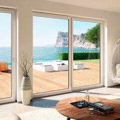 Sliding PVC windows in details. Pvc Windows, Arched Windows, Wallpaper Flower, Interior Windows, Pool Houses, My Living Room, Modern House Design, Stores, Glass Door