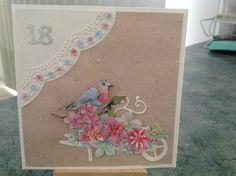 Handmade 18th birthday card. Tattered lace wheelbarrow die.