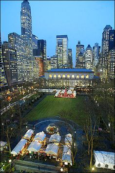 Bryant Park--behind the main branch (5th avenue) of the NY Public Library.    Perfect for a summer stroll and fabulous for ice skating during winter! Also in a prime location :)
