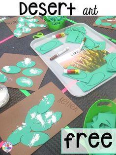 Desert art for a zoo theme FREEBIE with real cactus photographs . Prefect for preschool, pre-k, and kindergarten. #preschoolart #deserttheme #finemotor
