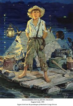 Rafting down the Mississippi at night with Huck and Jim Adventures of Huckleberry Finn by Mark Twain 1885 From Chapters 18 & 19