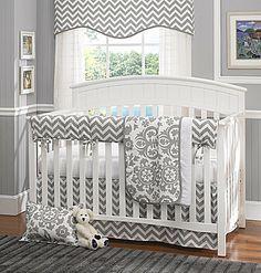 I like the bolder chevron crib skirt--- Gray Chevron 4-Pc. Baby Bedding Set with Rail Cover – American Made Dorm & Home