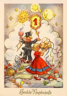 AK - Neujahr - ELISABETH - Kinder mit Pfannkuchen und Punsch, blanco
