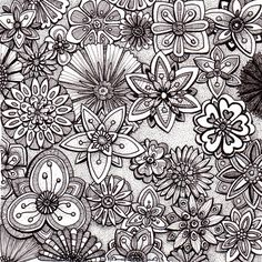Floramania - Beautiful and original whimsical abstract psychedelic stylised Ink drawing illustration of flowers.
