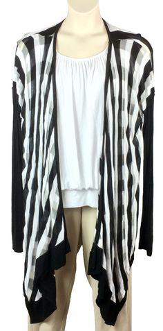 ed68dc3fd6 Womens Lane Bryant Open Front Cardigan Sweater Plus Size 26 28 Black White  Wrap