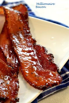 Five SpiceMillionaire Bacon 1 lb. thick-cut bacon 1 Tbs. lower-sodium soy sauce 1/4 tsp. Chinese five-spice powder 1 cup packed brown sugar (light or dark) 1/4 tsp. crushed red pepper flakes 400 degree oven / baking sheet lined w/ foil In a small bowl, combine the soy sauce and five-spice powder, and then brush the mixture over the bacon. In another small bowl, combine the brown sugar and red pepper flakes. Evenly sprinkle the mixture over the bacon, covering each slice completely.