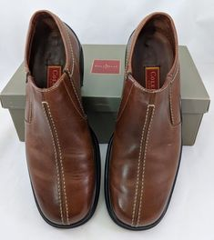 bc0d87e5aca2 Cole Haan Air Salito Leather Slip On Mens Size 10.5 Saddle Tan Brown w Box  EUC