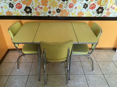 mid century modern yellow formica kitchen table with. beautiful ideas. Home Design Ideas