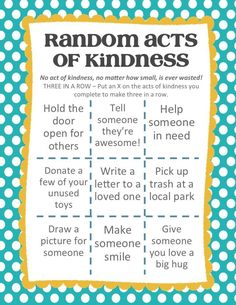 Create the Good and Help Others Random Acts of Kindness Tic-Tac-Toe AD Kindness Projects, Kindness Activities, Family Activities, Teaching Kindness, Ramadan Activities, Lds, Tic Tac Toe, Kindness For Kids, Random Acts Of Kindness Ideas For School