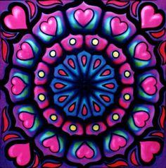 Heart mandala painted in UV