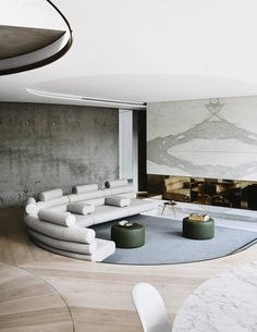 On a secluded site in south London, architect Nick Eldridge has created a sculptural house with a concealed lower level and an upper storey that seems to float above the surrounding garden Curved Walls, Curved Sofa, Sofa Furniture, Furniture Design, Living Room Designs, Living Spaces, Interior Decorating, Interior Design, Building A New Home