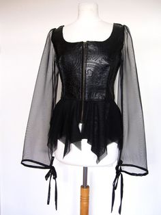 Goth Black Leather Peplum Top Jacket with long mesh sheer Sleeves size s/m on Etsy, $149.00
