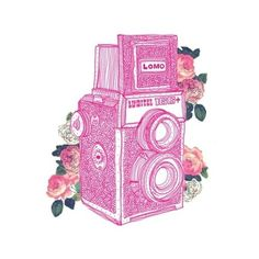 Sorry, I don't know the artist, but its a beautiful illustration. Camera Drawing, Camera Art, Lomo Camera, Pink Camera, Camera Illustration, Graphic Design Illustration, Illustrations, Painting, Art Drawings