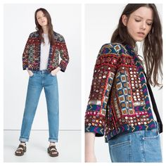 Zara embroidered jacket One of this current season's most popular jacket. Worn by many bloggers and even celebrities. This year short embroidery jacket is a must have. Main fabric 100% cotton. Embroidery 60% cotton, 40% polyester Zara Jackets & Coats