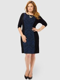 Jacquard Panel Dress by Karen Kane,Available in sizes 0X-3X