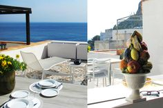 villa, terrace, sea view, summer mood, tiles