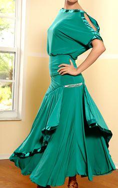 Dance America S408 - Long Basque Ballroom Skirt w/ Rhinestone Accent | Dancesport Fashion @ DanceShopper.com