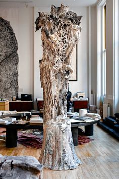 Artist Michele Oka Doner's sculpture, 'The Totem,' in her New York loft.