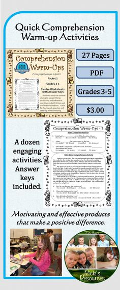 These twelve Comprehension Warm-Ups activities are designed to reinforce comprehension skills for those in grades 3-5. The targeted grade level is 4, but depending upon the student skill level, they can be used in lower or higher grades. The activities are great for homework, extra practice, review, homeschooling, self-starting. Answer keys are included. The worksheets use  context clues, and synonyms as well as utilizing literal, deductive, and inferential questioning.