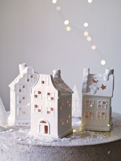 Three Tea Light Houses - Cox and Cox Christmas House Lights, House Ornaments, Clay Houses, Ceramic Houses, White Christmas, Christmas Home, Xmas, Christmas Ideas, Christmas Inspiration