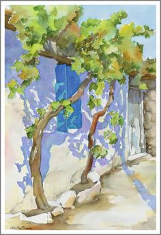 Watercolor of a building along a village street, up on the Lasithi Plateau in central Crete.