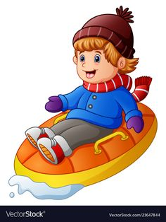 Cartoon happy boy riding an inflatable sled Vector Image