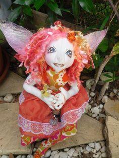 ooak fairy, soft cloth art doll,  fae, faery, handmade, collectors, gift idea, eco freindly by jansfabfairies on Etsy