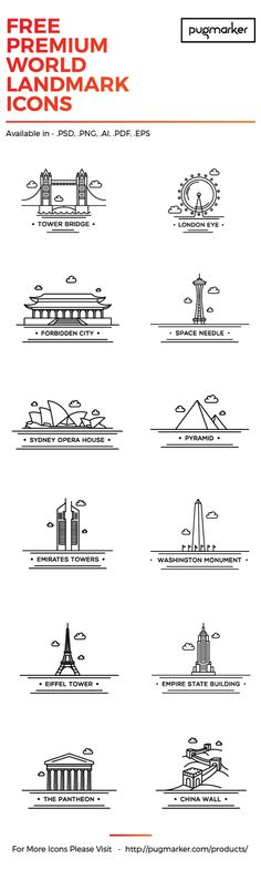 This is a nice set Of 12 Free Icons – World Landmark – These line icons represent some of the most famous landmarks of the world. They are available in multiple formats and can be used in your apps, web templates, prints, etc. They're totally free to down Graphisches Design, Buch Design, Icon Design, Logo Design, Graphic Design, Design Layouts, Travel Icon, Famous Landmarks, Line Icon