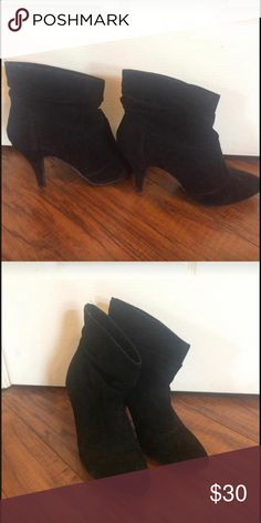 Bamboo black suede booties In excellent condition perfect with jeans or dresses! Shoes Ankle Boots & Booties