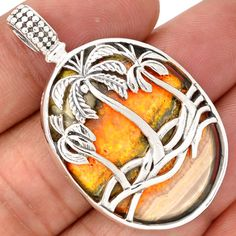 Coconut-Tree-Indonesian-Bumble-Bee-925-Silver-Pendant-SP170637