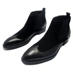 Fulinken Men's Two-tone Suede Leather Formal Dress Boots Slip on Classic Brogue Wingtip Dress Shoes Martin Boots Mens Shoes (9.5, Black) - http://authenticboots.com/fulinken-mens-two-tone-suede-leather-formal-dress-boots-slip-on-classic-brogue-wingtip-dress-shoes-martin-boots-mens-shoes-9-5-black/