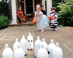 Ghost Bowling Game Keep the kids busy with a fun game of ghost bowling – made from recycled soda bottles!