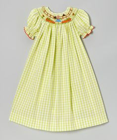 Take a look at this Green Scarecrow Bishop Dress - Infant, Toddler & Girls by BeMine on #zulily today!