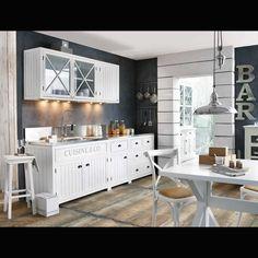 Meuble haut vitré de cuisine en bois blanc L 120 cm NEWPORT