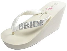 Bridal Flip Flops Bride Bling Glitter Wedge Wedding Platform Sandals Satin Flip Flops Shoes 8 M US Ivory 35 inch heel Silver Glitter BRIDE ** Read more reviews of the product by visiting the link on the image.