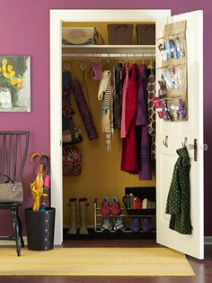 Add hooks at kid height to back of coat closet.  Add small shoe organizer to back of door to organize sunscreen, bug spray, cords, and all the other little things that get lost in the closet.
