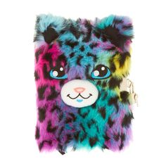 <P>Write down your secrets and thought in this super fuzzy diary with a smiling leopard face. The leopard has blue eyes, rainbow fur and really purrs.</P><UL><LI>Makes sounds<LI>Plush cover</LI<LI>Lined pages<LI>Comes with lock and 2 keys</LI></UL>