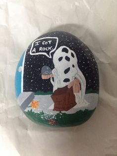 Hand painted Charlie Brown garden rock. Charlie Brown I got a rock. Garden decor. Home decor. Halloween decor. Paper weight. Painted rocks.