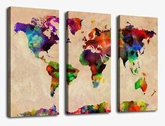 World Map Painting Pictures Canvas Prints Wall Art Decor 30x42 Inch Framed Ready to Hang - 3 Panel Large Modern Watercolor Map of the World Giclee Art Reroduction for Home and Office Walls Decoration