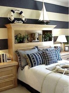 Nautical Bedroom, love headboard that Eric could make and mismatched side table, turned rustic nautical.