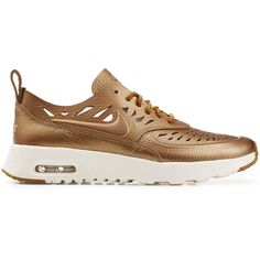 Nike Gold Leather Air Max Thea Joli Sneaker (76.135 CLP) ❤ liked on Polyvore featuring shoes, sneakers, lacing sneakers, cutout sneakers, nike, low profile sneakers and lace up sneakers