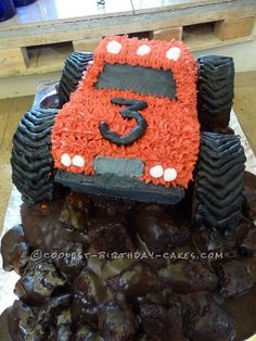 Muddy Monster Truck Birthday Cake ... This website is the Pinterest of birthday cakes