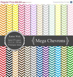 ON SALE Instant Download Chevrons Digital Paper Commercial Use Kit. $3.25, via Etsy.